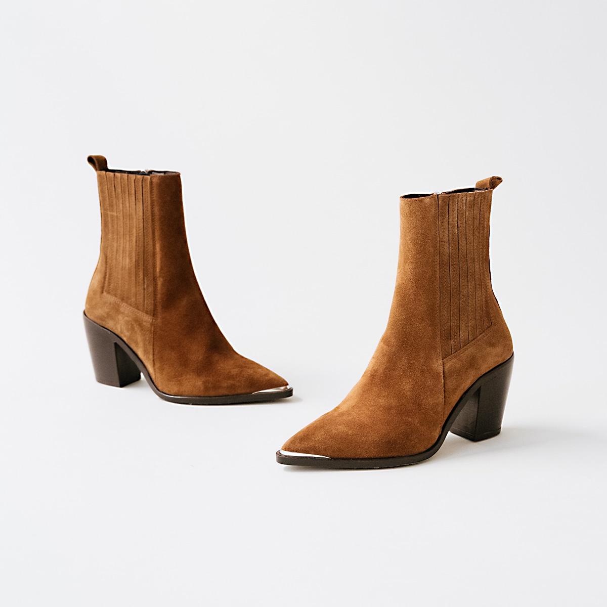 Boots à talon et à fronces en croute marron