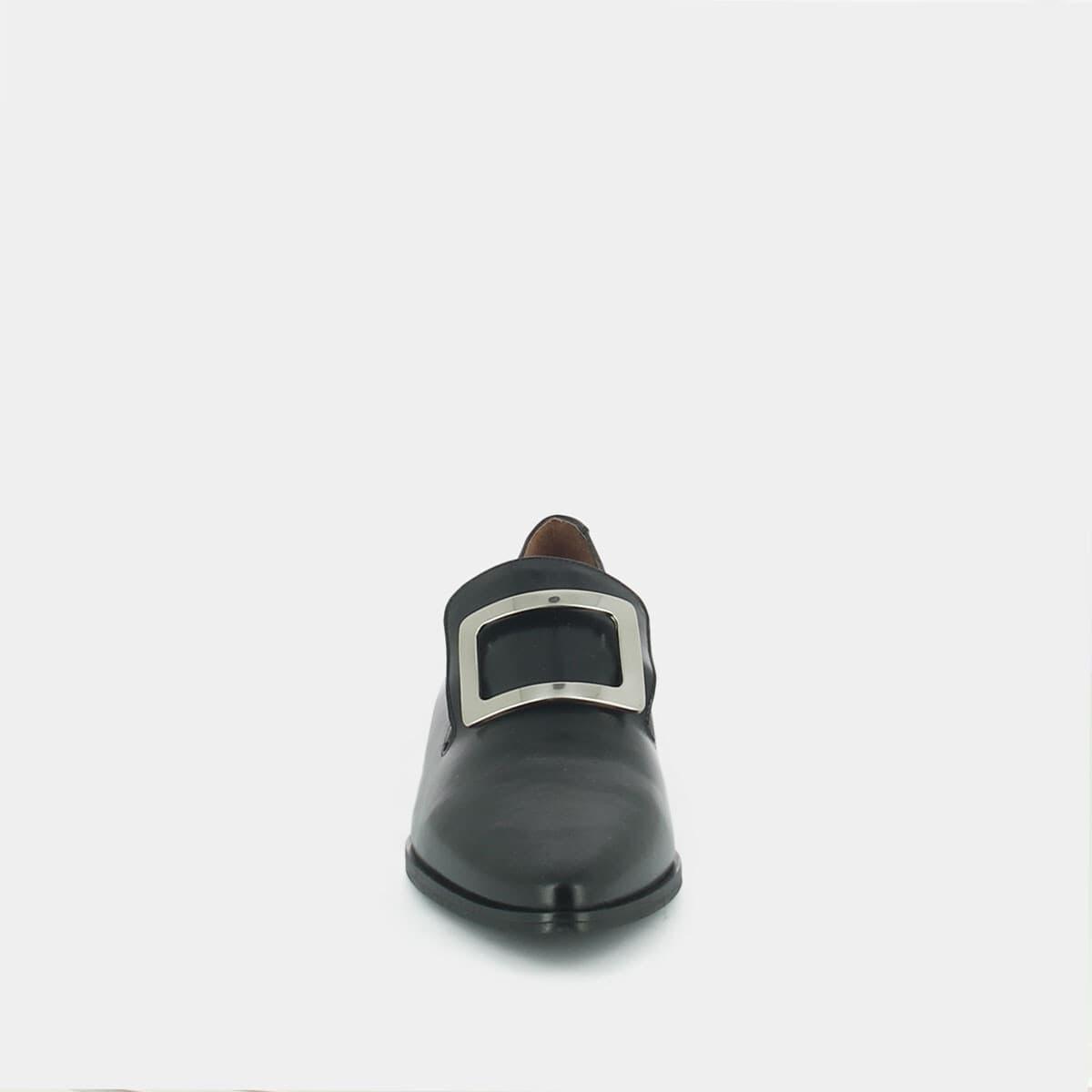 Mocassins à bout pointu et boucle carré en cuir noir