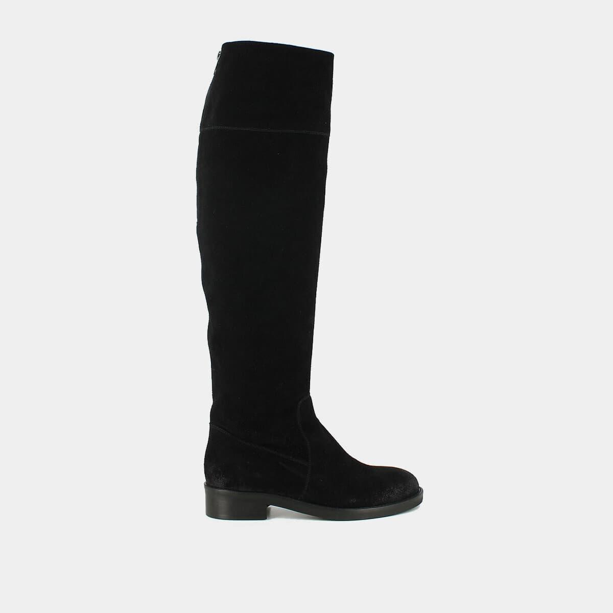 remise spéciale de différemment bonne vente de chaussures Cuissardes en croute noir , à bouts ronds JONAK