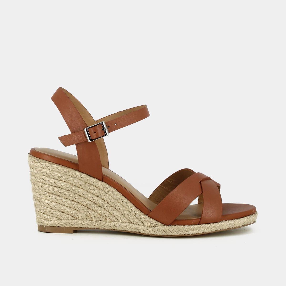 Sandales à talon compensé Femme en corde en cuir camel | Jonak