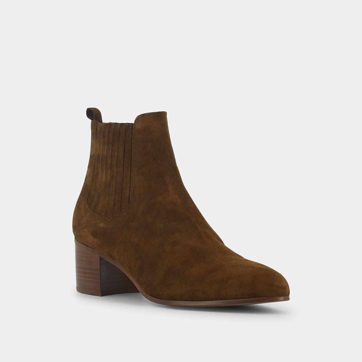 281072908aa5 Boots pointues à talon carré Jonak en croute cognac