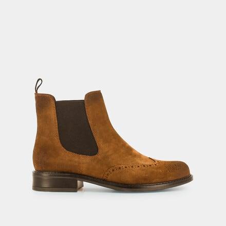 Boots plates Femme en croute camel | Jonak