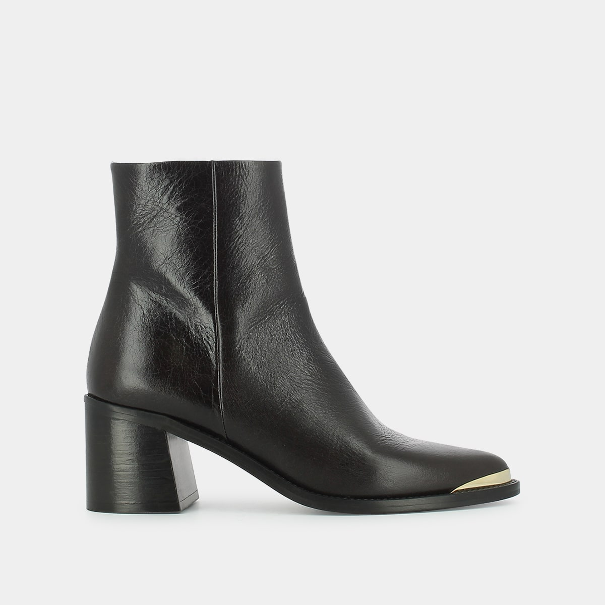 embout doréen et à Bottines marron JONAK talon cuir D2WE9HI